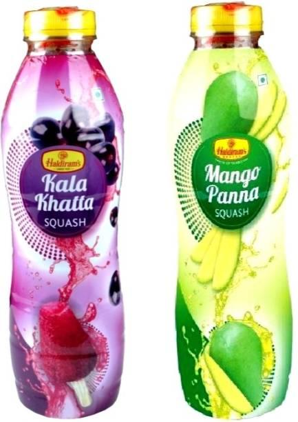 Haldiram's Kala Khatta Squash and Mango Pana Squash (Combo Pack)