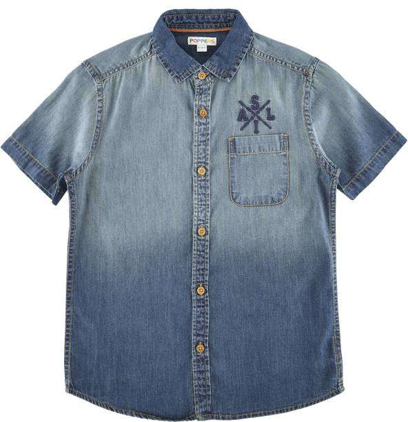 Poppers by Pantaloons Boys Printed Casual Blue Shirt