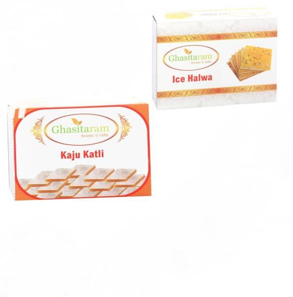 Ghasitaram Gifts Mithai Hampers - Kaju Katli and Ice Halwa Box