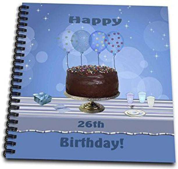 3dRose Db 123912 2 26th Birthday Party With Chocolate Cake And Blue Balloons Memory Book 12 By