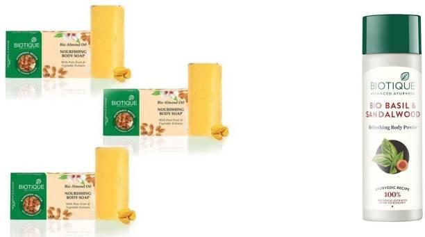 BIOTIQUE Bio Almond Oil Nourishing Body Soap 150 gm (Pack of 3) Basil & Sandalwood Refreshing Body Powder 150 gm (Pack of 1)