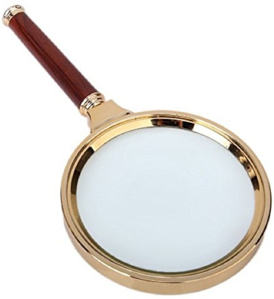 Inspection Insects Repairing 10x 80mm Magnifying Glass Crystal Clear Handheld Magnifier Loupe Glasses for Reading Newspapers Sewing Wooden Handle Magnifier with Metal Frame Jewelers Stamps