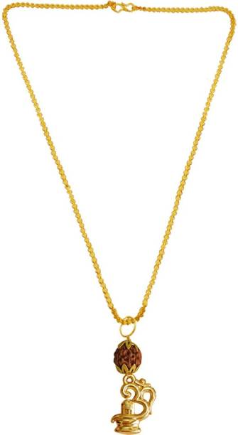 cd14fe8649 Rich & Famous Om Shivling Rudraksha Pendant For Men/Women Gold-plated Wood,