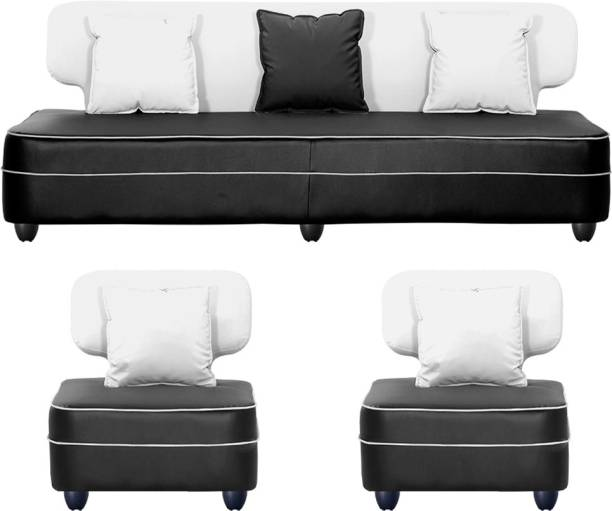 Bharat Lifestyle Butterfly Leatherette 3 + 1 + 1 White and Black Sofa Set