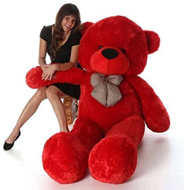 VK TEDDY BEAR 3 Feet very beautiful soft toys high quality for valentine & birthday gift ( Approx 93 cm ) Red color  - 93 cm