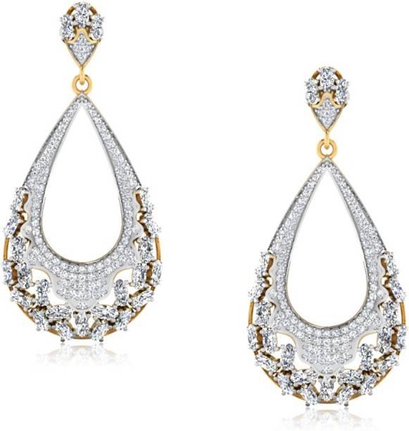 Iskiuski Nirala Drop Diamond Earrings Yellow Gold 18kt Swarovski Crystal Dangle Earring