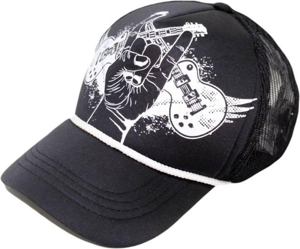 Friendskart Printed Printed Black Guitar Army Printed In Multicolor Colour  Half Net Cap 44749318935b