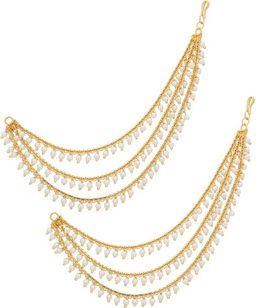 Luxor Bollywood Inspired Long Chain Pearl Alloy Cuff Earring