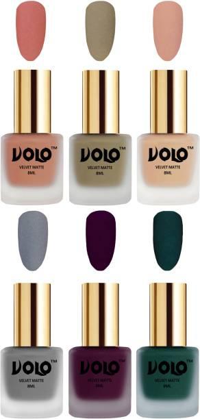 Volo Velvet Dull Matte Posh Shades Party Girl Range Nail Polish Sets Combo-No-23 Light Wine, Sand Nude, Light Peach, Dark Green, Nude, Grey