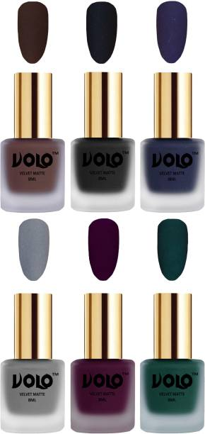 Volo Velvet Dull Matte Posh Shades Party Girl Range Nail Polish Sets Combo-No-08 Light Wine, Russian Navy Blue, Dark Green, Black, Chocolate Brown, Grey