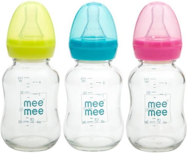 MeeMee Premium Glass Feeding Bottle Green+Blue+Pink 120ml-2PCS - 120 ml