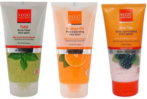 VLCC Original Tulsi Acne Clear, Orange Oil, Anti-Tan Skin Ligtening FaceWash Face Wash