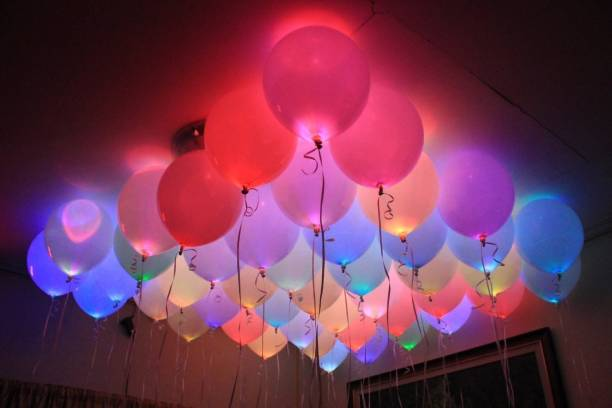 Baybee Solid LED Light Up Balloons Premium Mixed Colors Flashing Party Lights Lasts 12