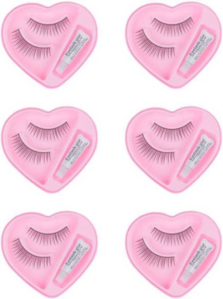 Shopeleven Eye Lashes with Lashes Glue (Combo)( pack of 6)