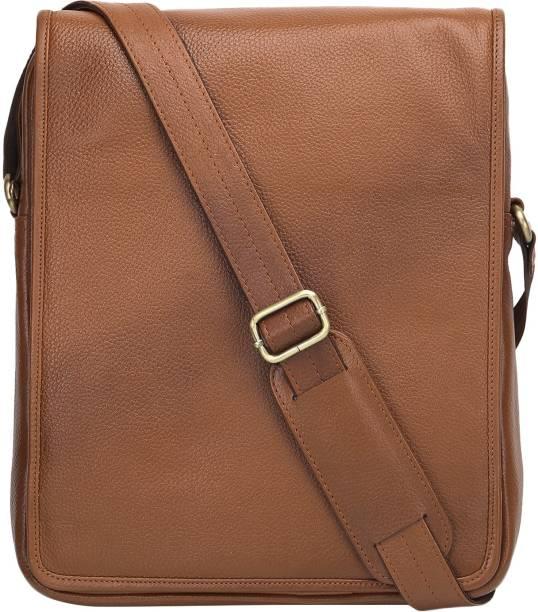 Charpe Men   Women Casual Brown Genuine Leather Sling Bag 6b7d20005eff6