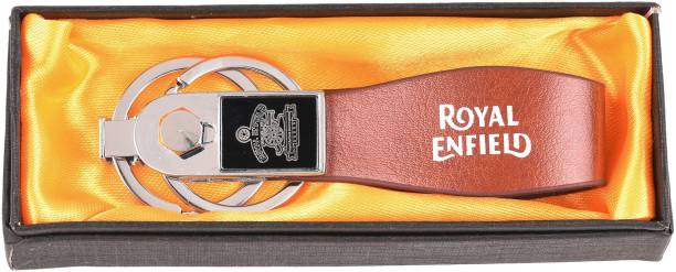 AVI Royal Enfield Leatherite Brown Logo and Printing Key Chain
