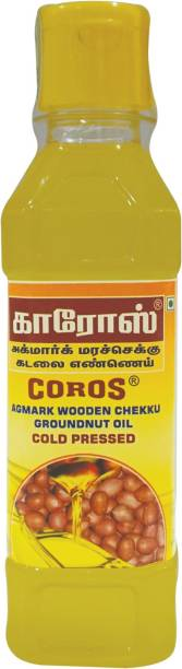 Coros oil COLD PRESSED WOODEN CHEKKU GROUNDNUT OIL Groundnut Oil Plastic Bottle