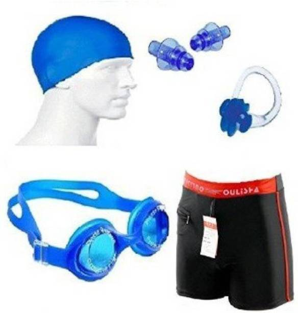 SYNDICATE Swimming Kit (Silicon Cap, Silicon Ear Plug, Swimming Nose Clip, Swimming Goggles With Authentic Men Adult Swim Trunks Boxer Nylon Swimming Kit Swimming Cap