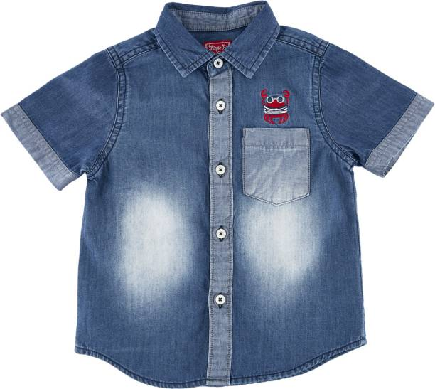 Chirpie Pie by Pantaloons Baby Boys Printed Casual Blue Shirt