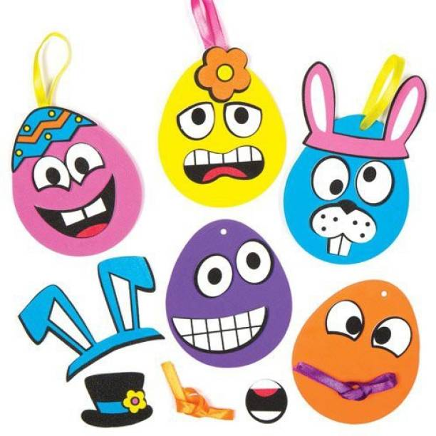 fa171df96fc Baker Ross Funny Face Egg Mix Match Hanging Foam Decoration Kits For  Children To Make And Decorate