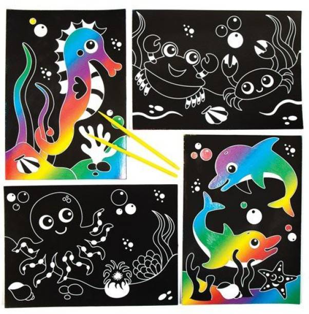 17674799553 Baker Ross Sealife Scratch Art Scenes For Children To Design Make And  Display - Creative Picture