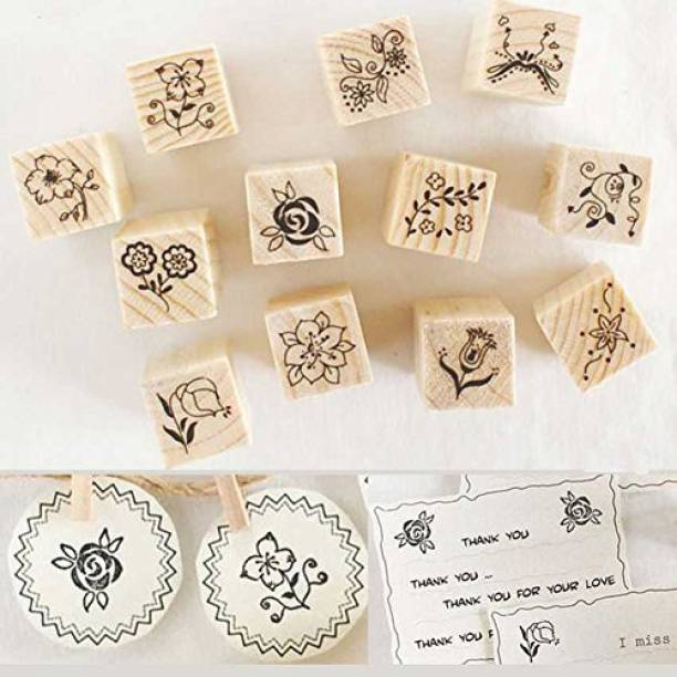 Fashionclubs 24pcs Diy Flower Wooden Rubber Stamp For Craft And Sbooking