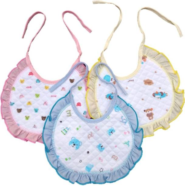 Baby Shopiieee Premium Baby Cotton Bibs with Frill (Pack of 3) Print May Vary