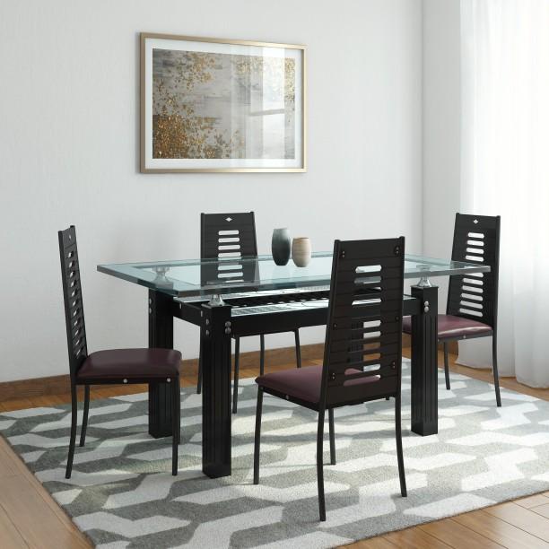 RoyalOak County Glass 4 Seater Dining Set