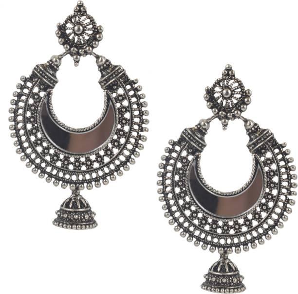 ff4f9da46 Slamay Fashion Silver Plated Bollywood Designer Chandbali Earring for Women  Alloy Chandbali Earring