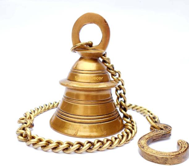 SUSAJJIT DECOR Hanging Bell In Antique Yellow Finish Made of Brass For Home Temple Brass Decorative Bell