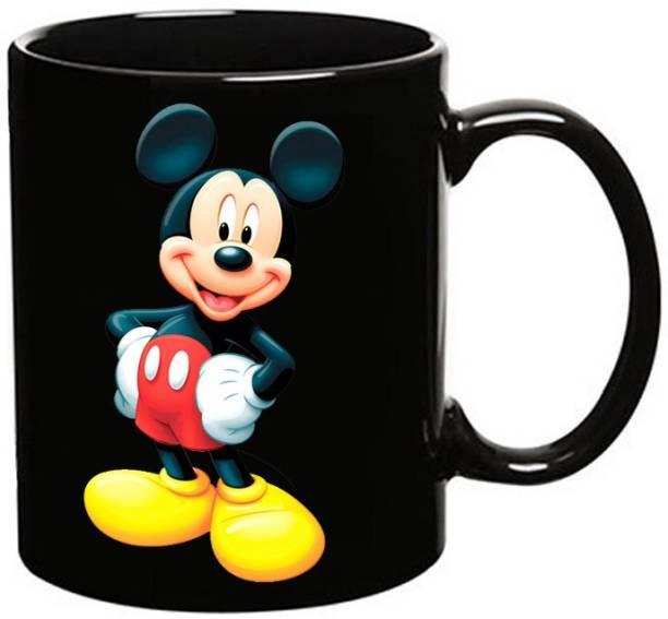 MUGKIN Mickey Mouse Dark Ceramic Coffee Mug