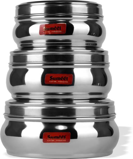 03f136fc1 Sumeet Stainless Steel Belly Shape Flat Canisters   Puri Dabba   Storage  Containers Set of 3Pcs