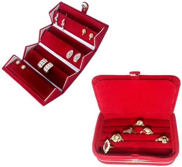 Aadhya 1 Ring & 1 Earring Folder Travelling Pouch (Maroon) Vanity Box