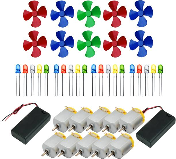 APTECHDEALS 10Pcs 3V to 9V DC Flat Small Size Toy Motor + Multi Color 10 Pcs Toy Motor Fan + 20 PC LED + 2 Pc AA 2 Cell Battery Holder with On Off Switch