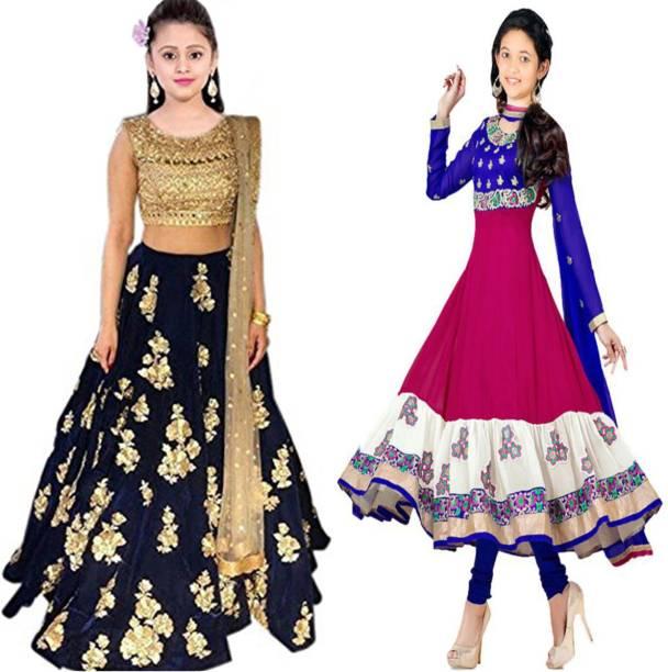 d0d74ab597 MF Retail Girl's Lehenga Choli Ethnic Wear Embroidered Lehenga, Choli and  Dupatta Set