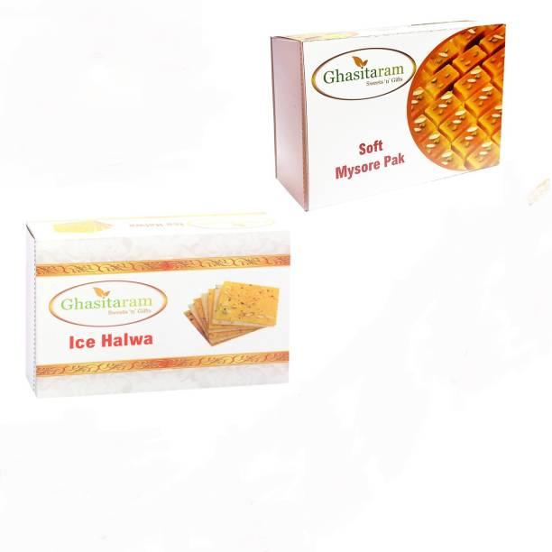 Ghasitaram Gifts Mithai Hampers - Mysore Pak and Ice Halwa Box