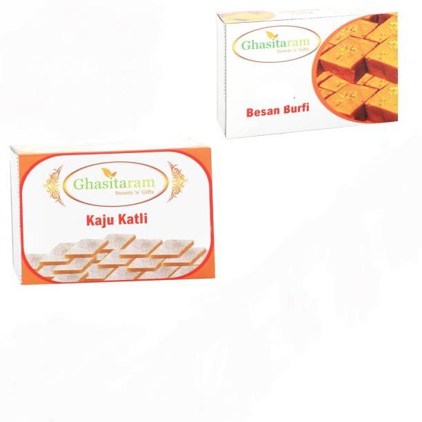 Ghasitaram Gifts Mithai Hampers - Kaju Katli and Besan Barfi Box