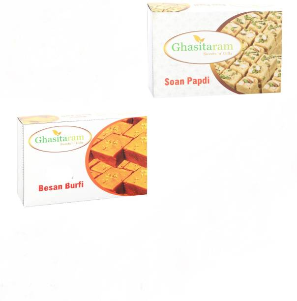 Ghasitaram Gifts Mithai Hampers - Soan Papdi and Besan Barfi Box