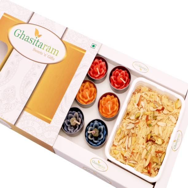 Ghasitaram Gifts Mithai Hampers - Soan Papdi and Set of 10 T-Lites Box