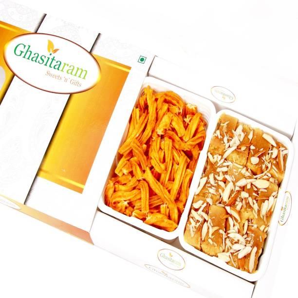 Ghasitaram Gifts Mithai Hampers - Mysore Pak and Chakli Hamper Box