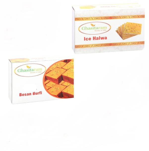 Ghasitaram Gifts Mithai Hampers - Besan Barfi and Ice Halwa Box