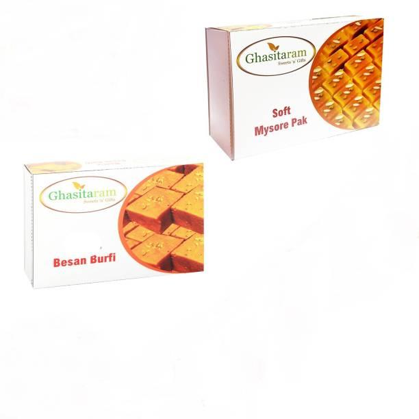 Ghasitaram Gifts Mithai Hampers - Besan Barfi and Mysore Pak Box