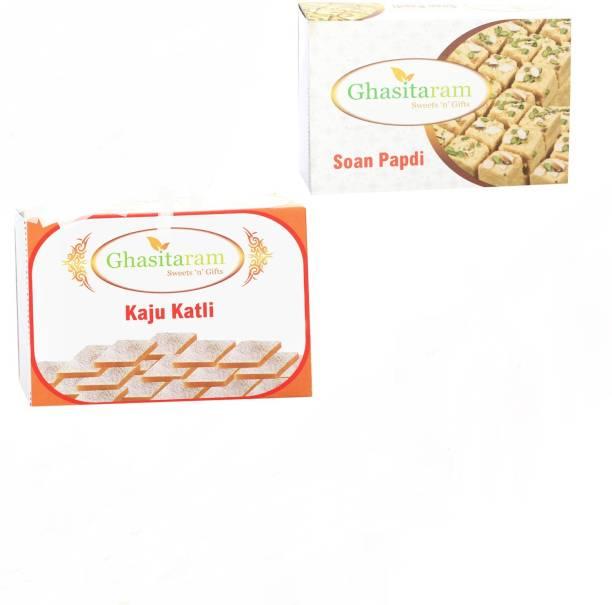 Ghasitaram Gifts Mithai Hampers - Kaju Katli and Soan Papdi Box