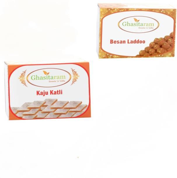 Ghasitaram Gifts Mithai Hampers - Kaju Katli and Besan Laddoo Box