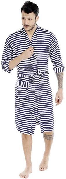 feelblu Navy Blue Free Size Bath Robe