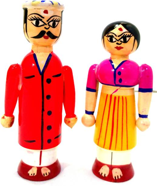 Crafts India Handcrafted Wooden South Indian Couple - Small 12 cms