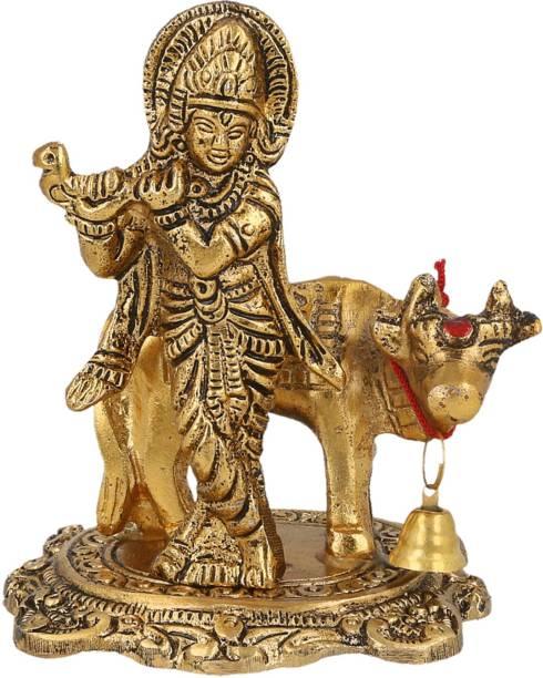 AapnoCrafts Hindu God Shri Krishan With Kamdhenu Cow Statue Lord Krishna Idol Makhan Chor / Bal Gopal Handicraft Decorative Spiritual Puja Vastu Decorative Showpiece  -  10.4 cm