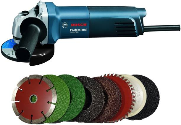 Inditrust Bosch GWS 600 grinder with 8 high quality 4-inch wheels for cutting grinding buffing application Angle Grinder