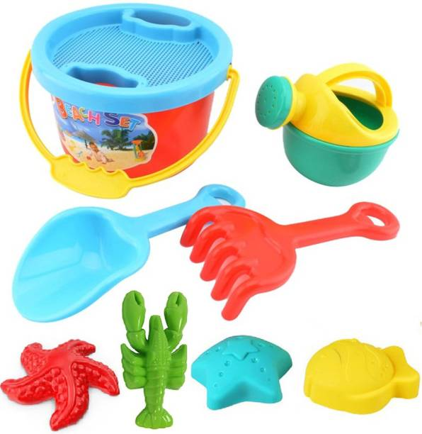 IndusBay Beach Toy Set , Multicolored Beach Bucket with Hand tools and accessories, Summer Beach Fun Activity