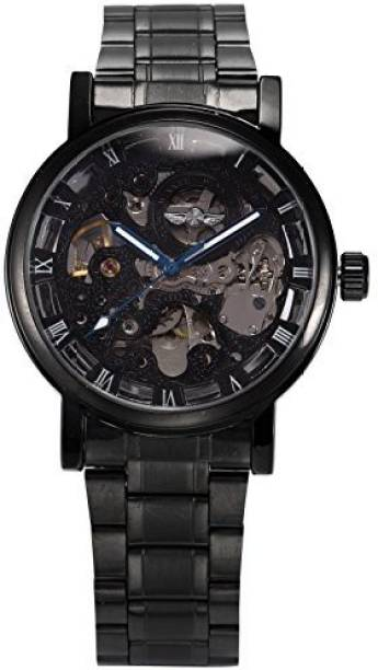 AMPM24 Black12960 AMPM24 Men s Mechanical Skeleton Automatic Self-winding  Black Stainless Steel Band Watch PMW269 e2bfd206cd00